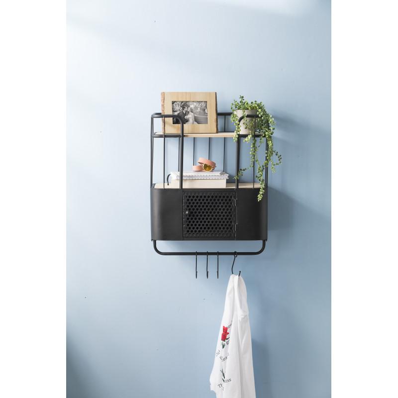 Wand-bakkerskast met deurtje - 45x20x48 cm - zwart