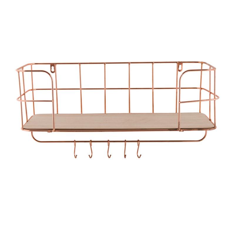 Wand-bakkerskast met haken - koper - 50x18x27cm
