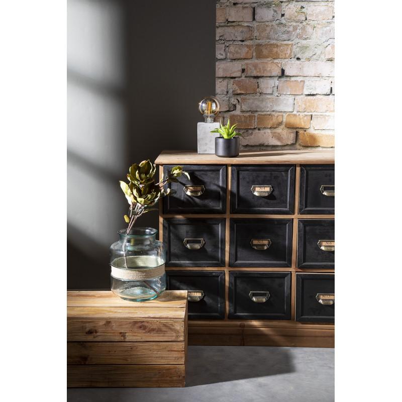 Apothekerskast - 15 laden - naturel/zwart