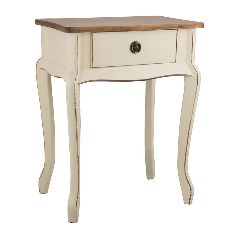 Sidetable hout - 44x32x57 cm - wit