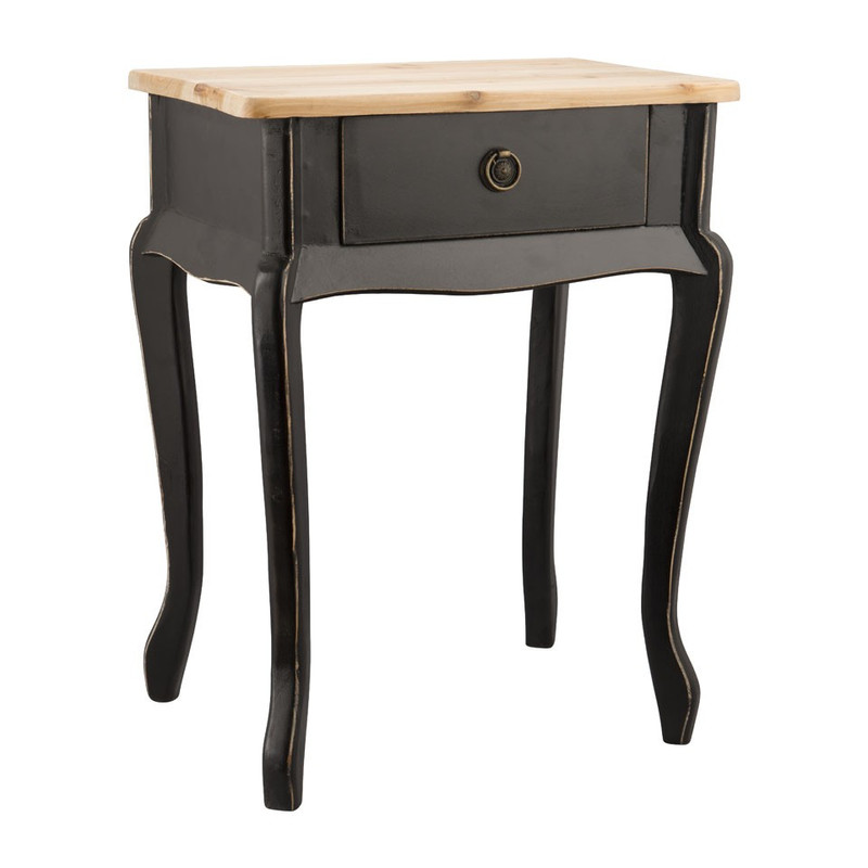 Sidetable hout - 44x32x57 cm - zwart
