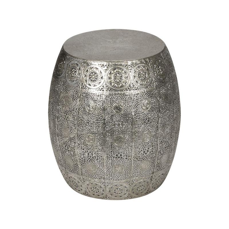 Zilver Bijzet Tafeltje.Bijzettafeltje Rond 30x34 Cm Zilver