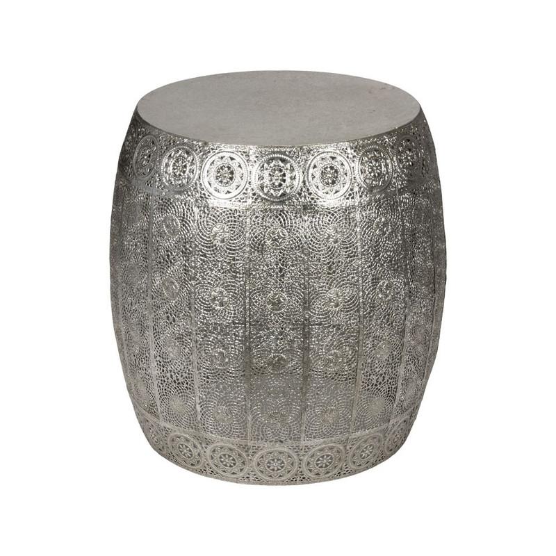 Zilver Bijzet Tafeltje.Bijzettafeltje Rond 40x41 Cm Zilver
