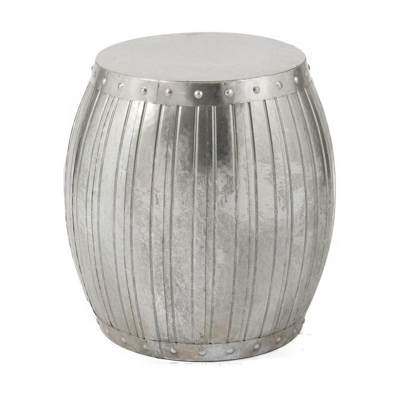 Zilver Bijzet Tafeltje.Bijzettafeltje Antic Zilver 35x47 Cm