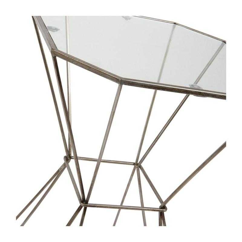 Bijzettafeltje glazen blad - diabolo - 40x55 cm