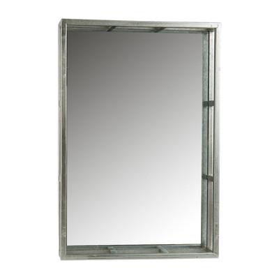 Dienblad met glas - 43 x 29 x 5  cm- zilverkleurig