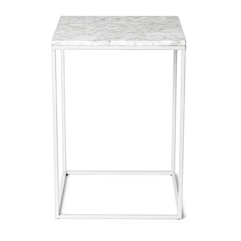 Bijzettafel marmer - wit/grijs - 35x35x50 cm