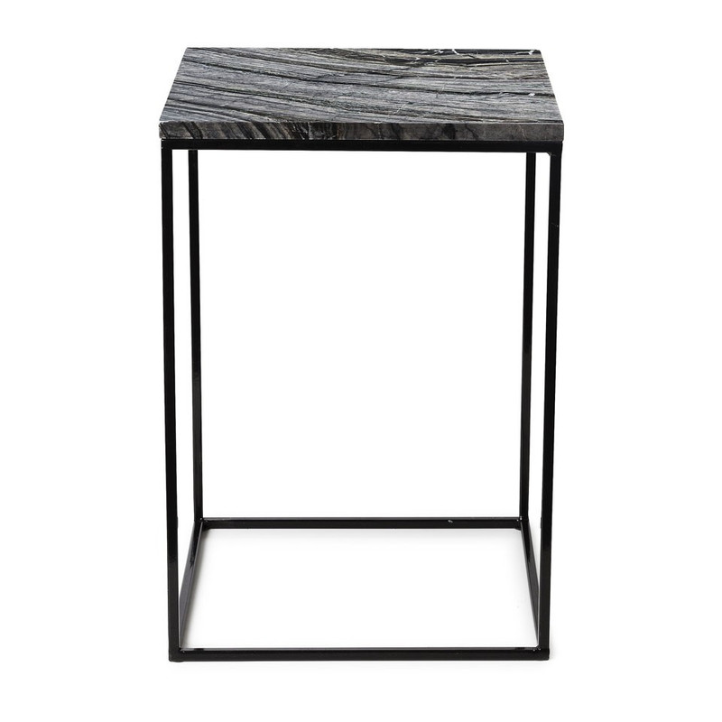 Bijzettafel marmer - zwart/grijs - 35x35x50 cm