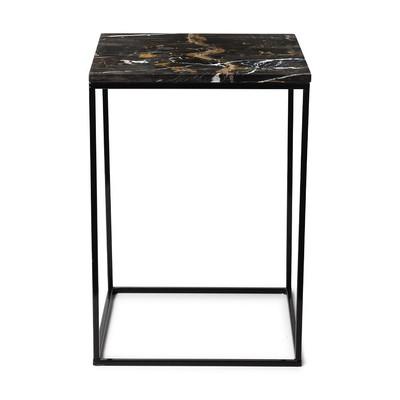 Bijzettafel marmer - zwart/bruin - 35x35x50 cm
