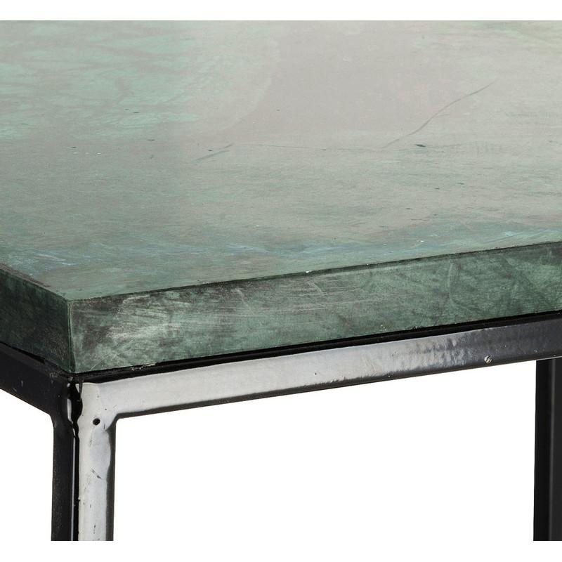 Bijzettafel marmer - zwart/groen - 35x35x50 cm