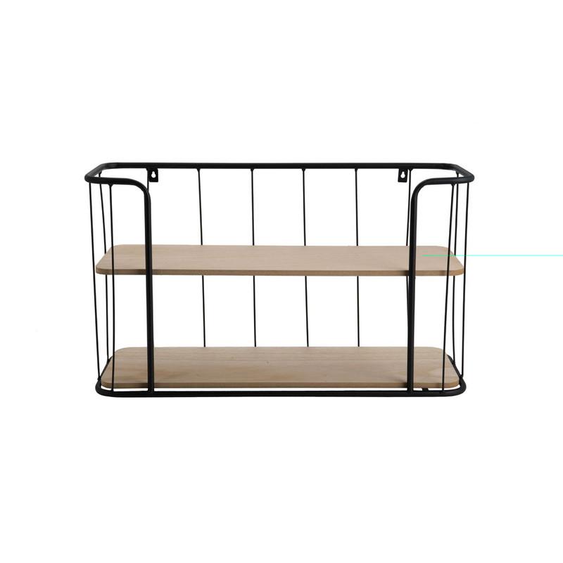 Wand-bakkerskast met 2 planken - 36x20x60 cm - zwart