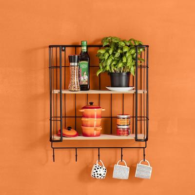 Wand-bakkerskastje met haken - 51x16x62 cm