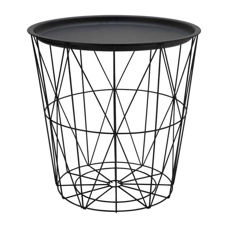 Opbergmand Malmö met dienblad - zwart - 40x41 cm