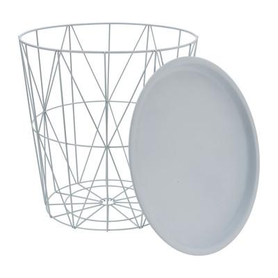 Opbergmand Malmö met dienblad - wit - 40x41 cm