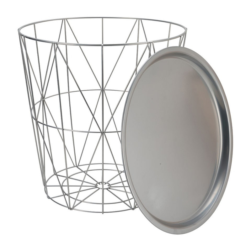 Opbergmand Malmö met dienblad - grijs - 40x41 cm