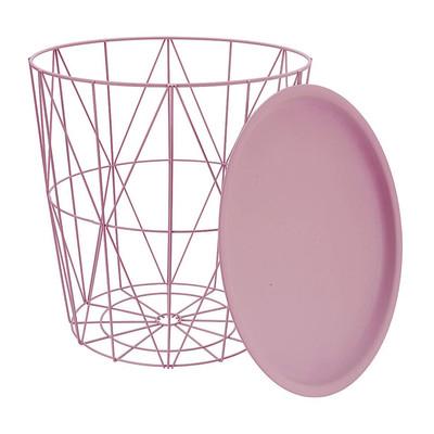 Opbergmand Malmö met dienblad - roze - 40x40 cm