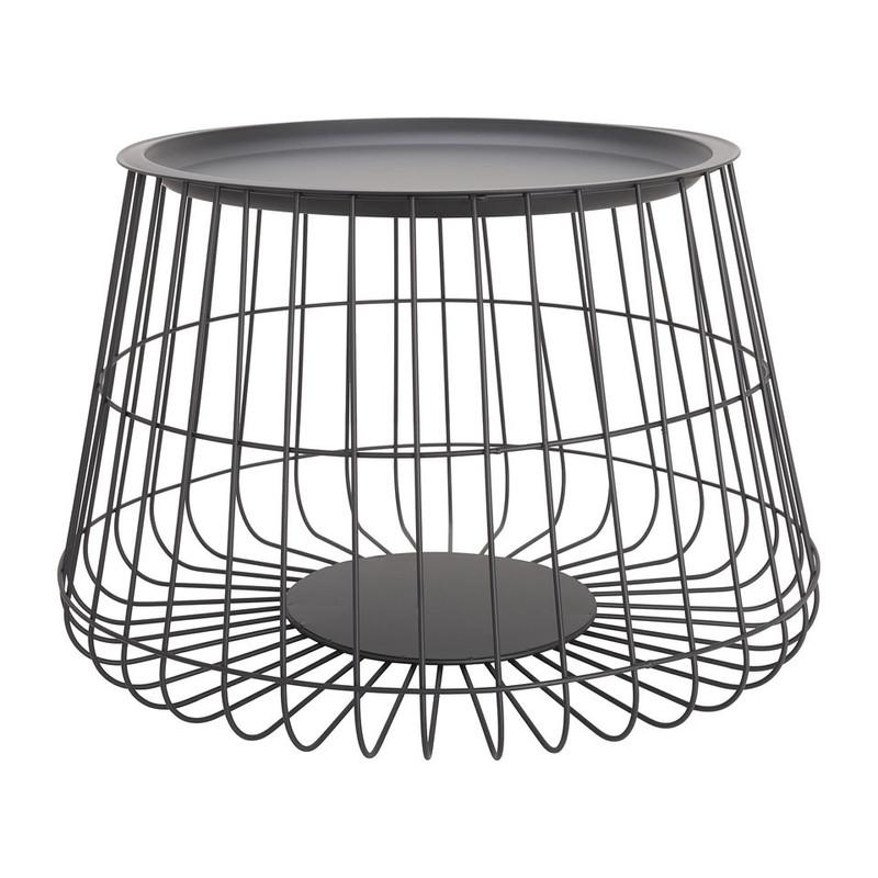 Opbergmand met dienblad Malmö - zwart - 56x36 cm