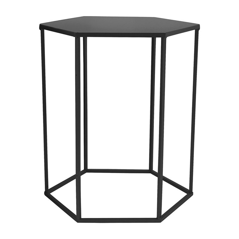 Bijzettafeltje 6-kant - zwart - 35x40x45 cm