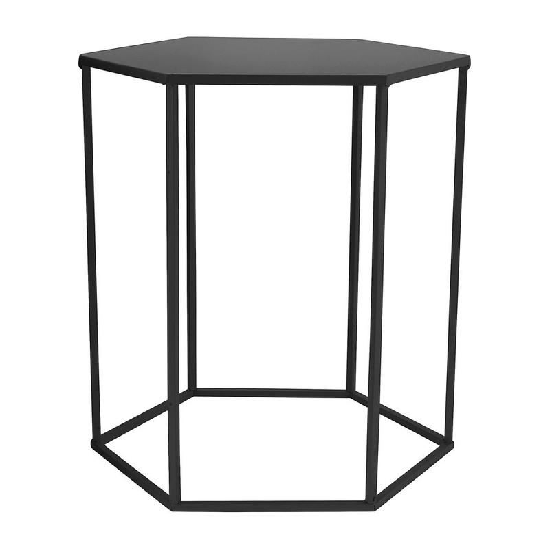 Bijzettafeltje 6-kant - zwart - 40x45x50 cm