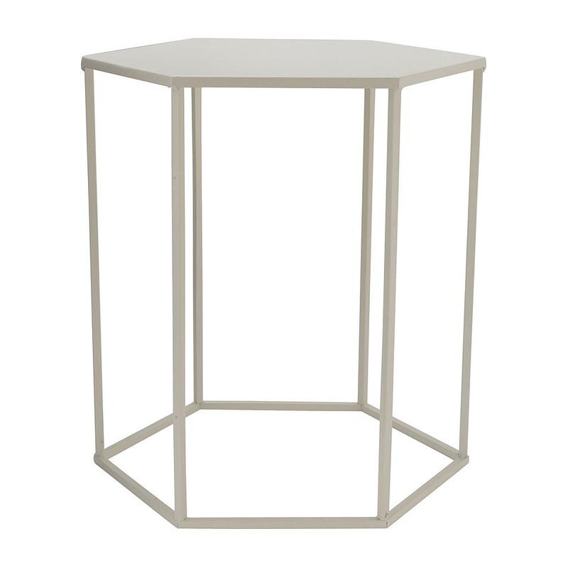 Bijzettafeltje 6-kant - wit - 40x45x50 cm