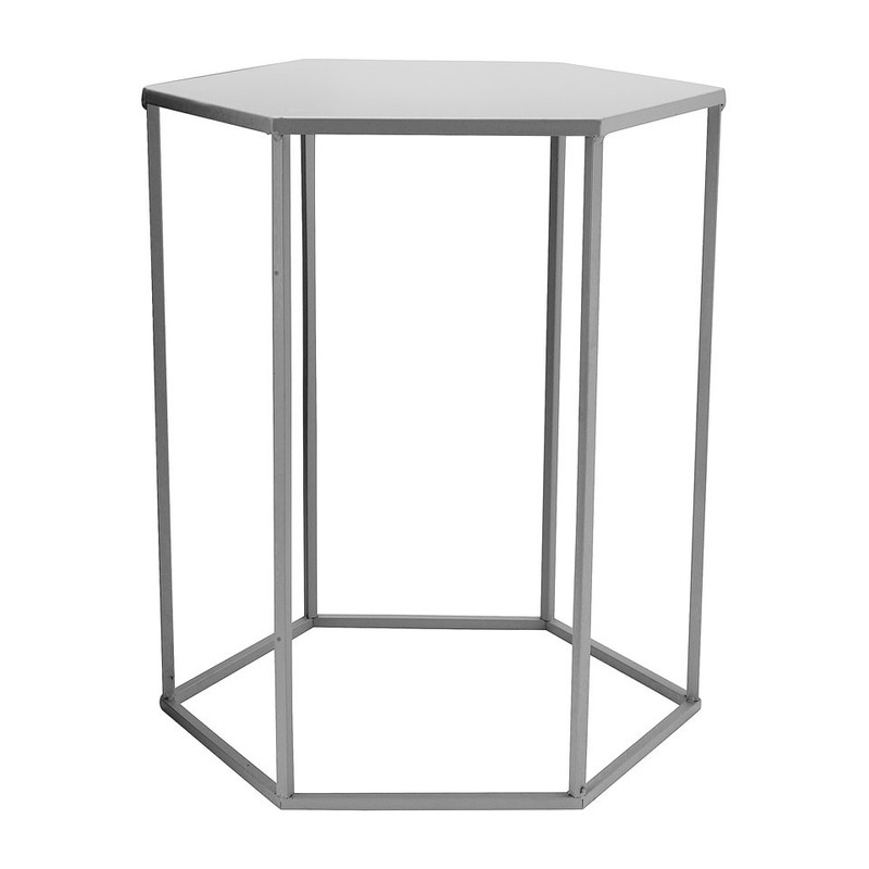 Bijzettafeltje 6-kant - grijs - 35x40x45 cm