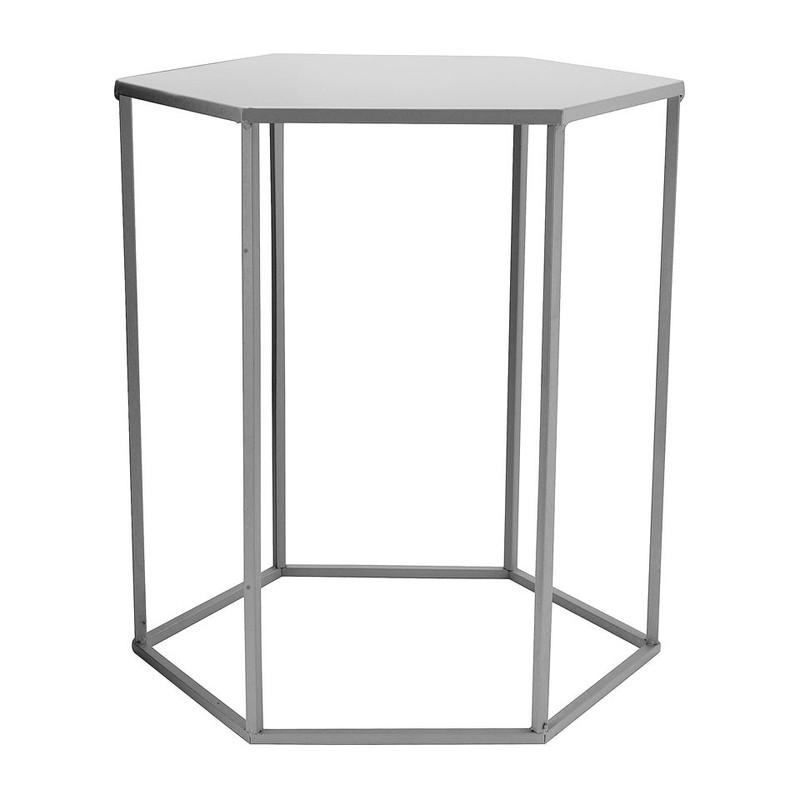 Bijzettafeltje 6-kant - grijs - 40x45x50 cm