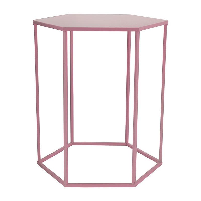 Bijzettafeltje 6-kant - roze - 35x40x45 cm
