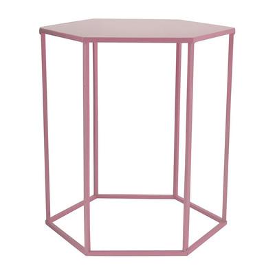 Bijzettafeltje 6-kant - roze - 40x45x50 cm
