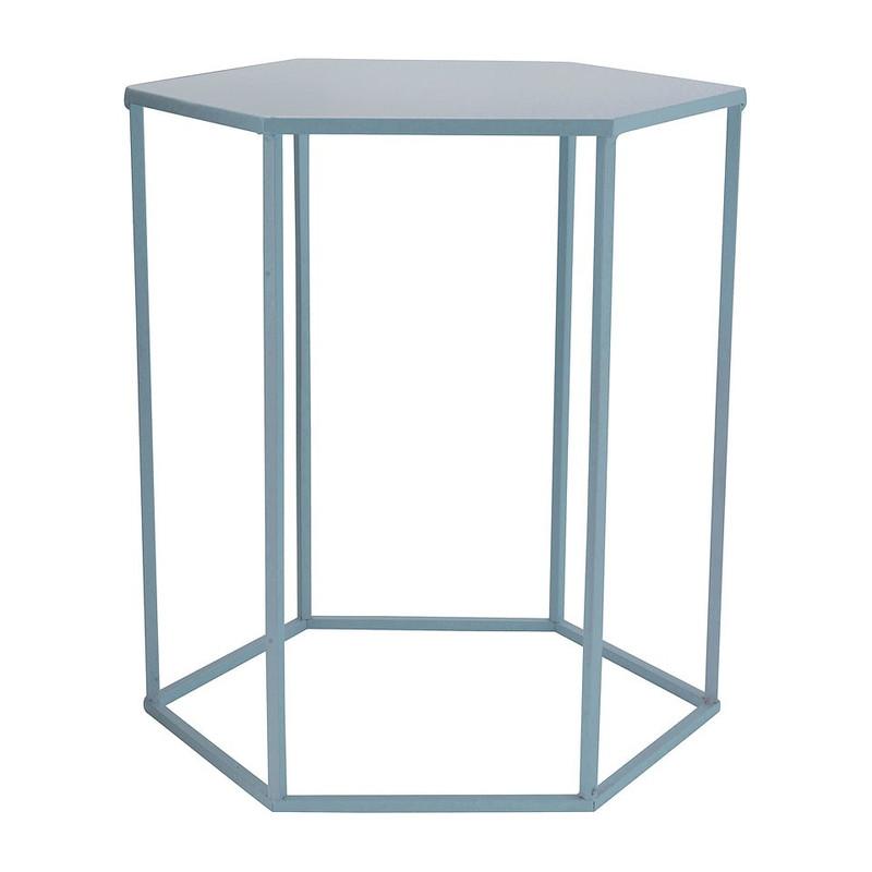 Bijzettafeltje 6-kant - blauw - 40x45x50 cm