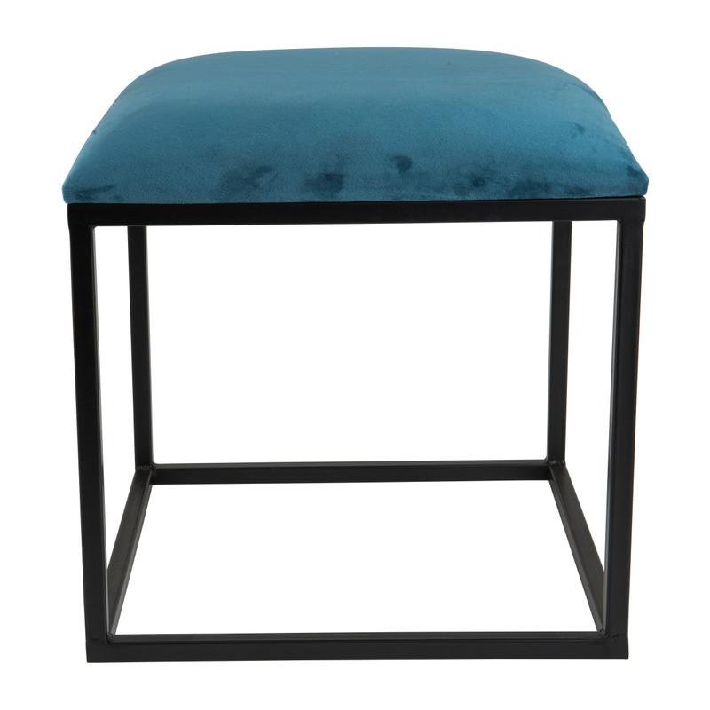 Krukje velvet - blauw - 37x37x38 cm
