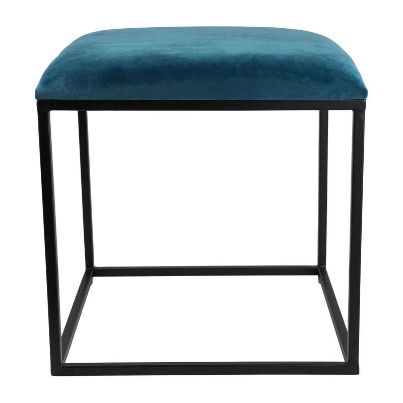 Krukje velvet - blauw - 45x45x46 cm