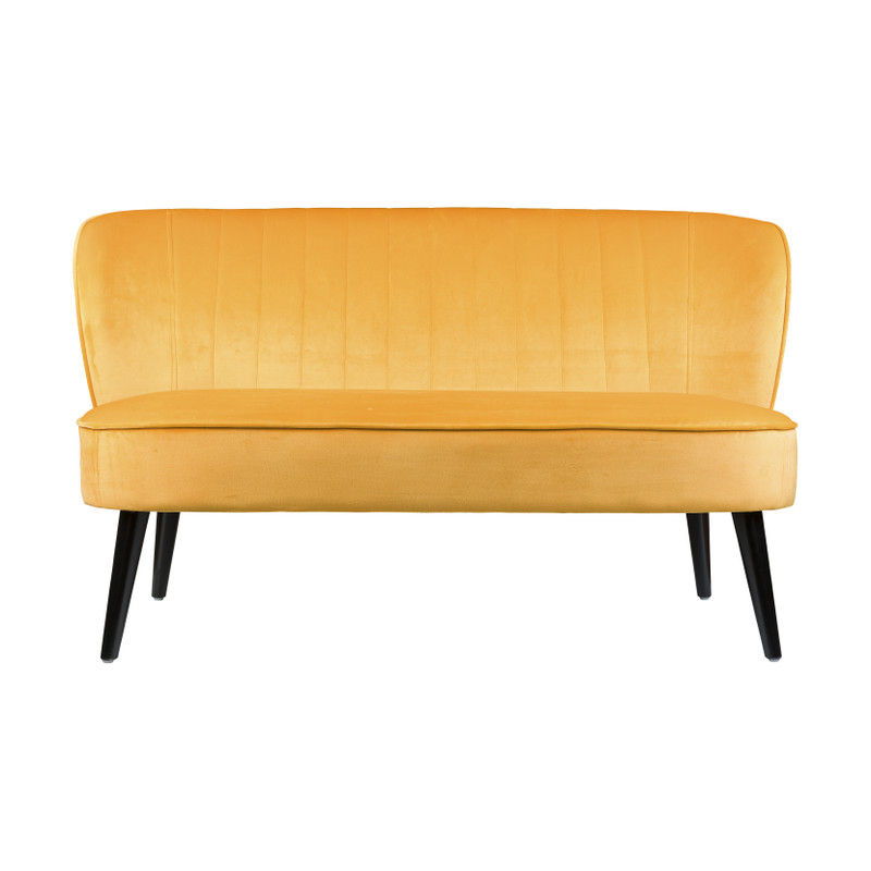 Bankje velvet geel 132x66x74 cm