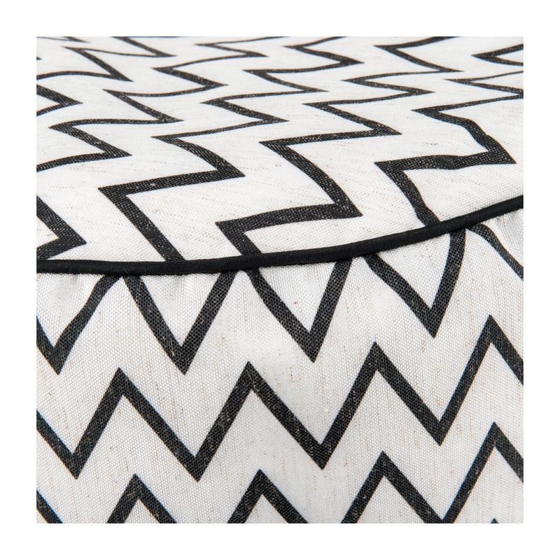Poef rond zigzag - 40x20 cm - zwart/wit