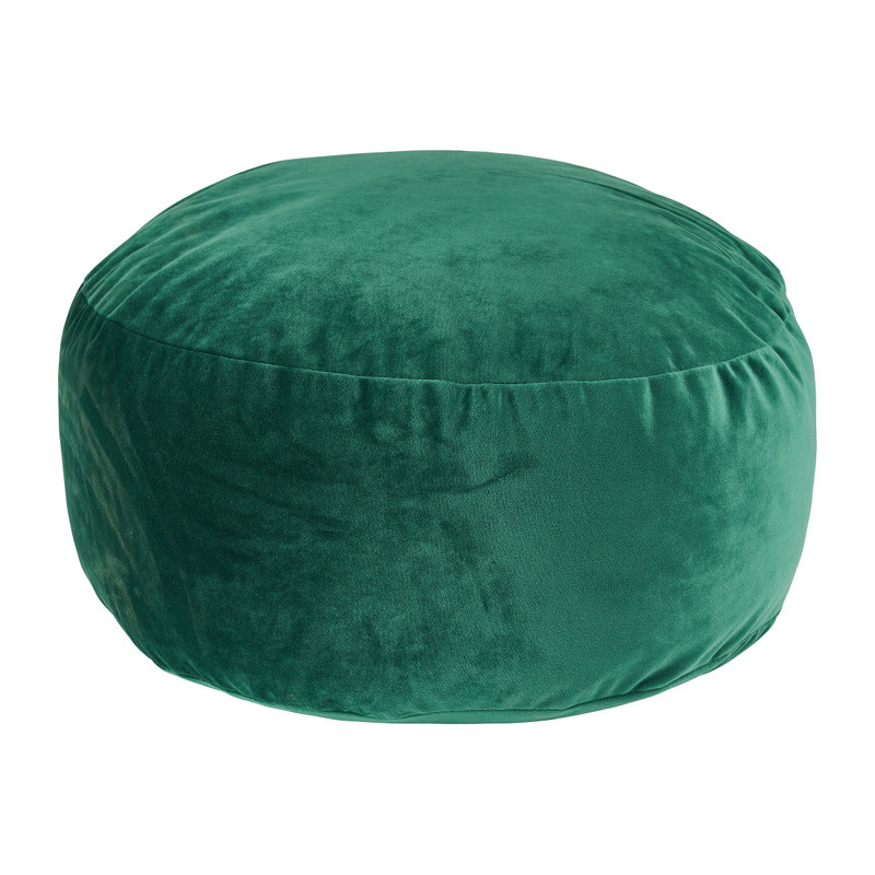 Poef velvet - groen - ø50x20 cm