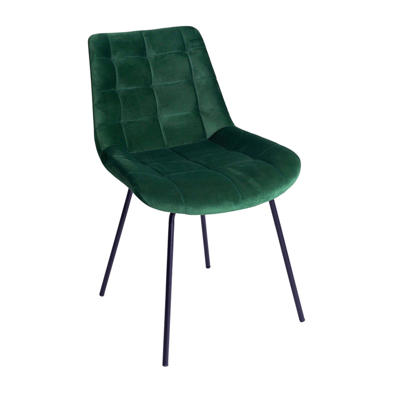 Eetkamerstoel velvet - groen - 52x52x81 cm