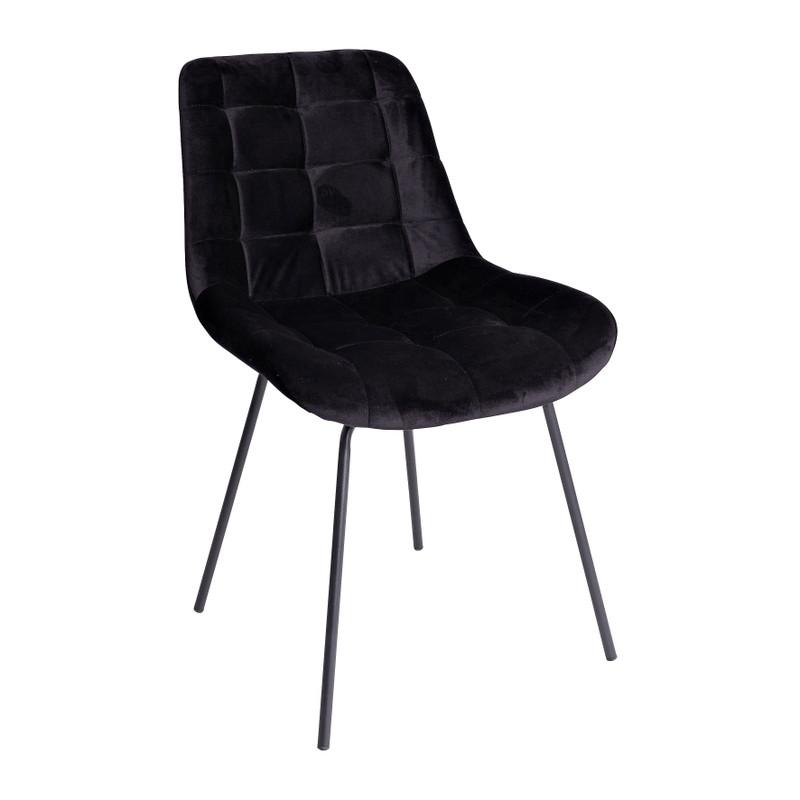 Eetkamerstoel velvet - zwart - 52x52x81 cm