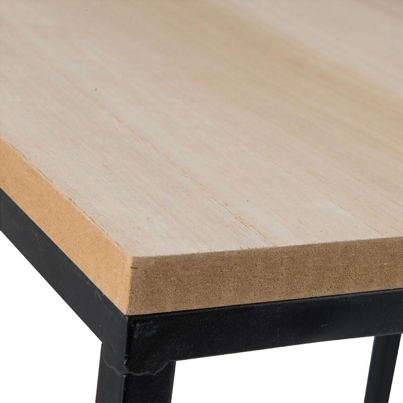 Bijzettafeltje hout/metaal - 30x30x30 cm - zwart