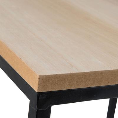 Bijzettafeltje hout/metaal - 35x35x35 cm - zwart