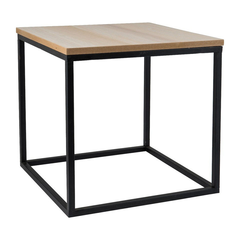 Bijzettafeltje hout/metaal - 40x40x40 cm - zwart