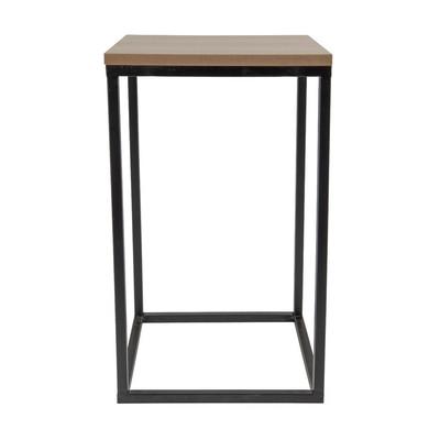 Tafeltje hout/metaal - 25x25x50 cm - zwart