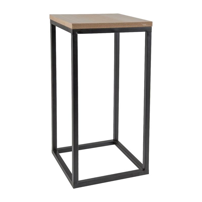 Tafeltje hout/metaal - 30x30x52 cm - zwart