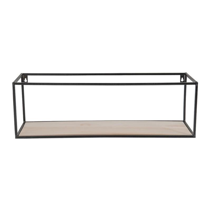 Wandplankje hout/metaal - 60x18x19 - zwart