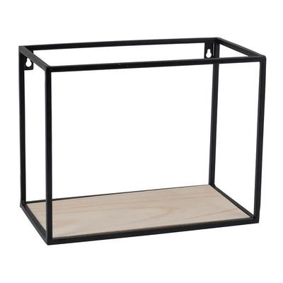 Wandplankje hout/metaal - 32x18x25 cm - zwart