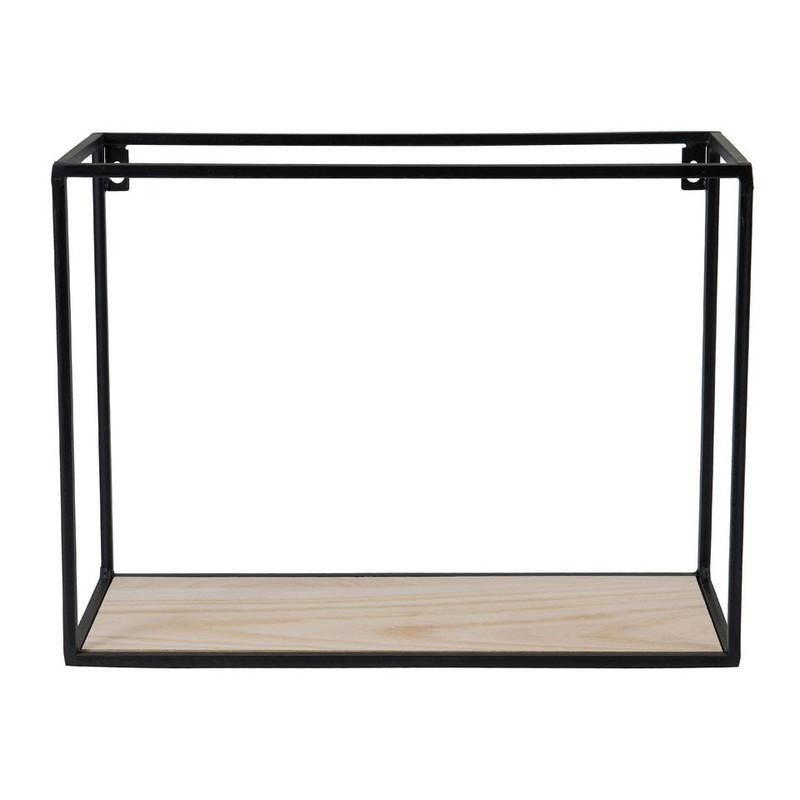 Wandplankje hout/metaal - 40x18x30 cm - zwart