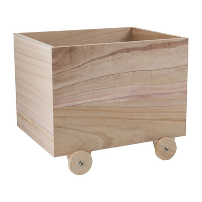 Speelgoedkist op houten wielen - 38x30x27 cm