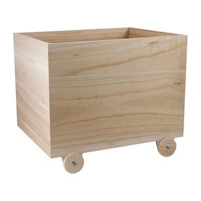 Speelgoedkist op houten wielen - 45x35x33 cm