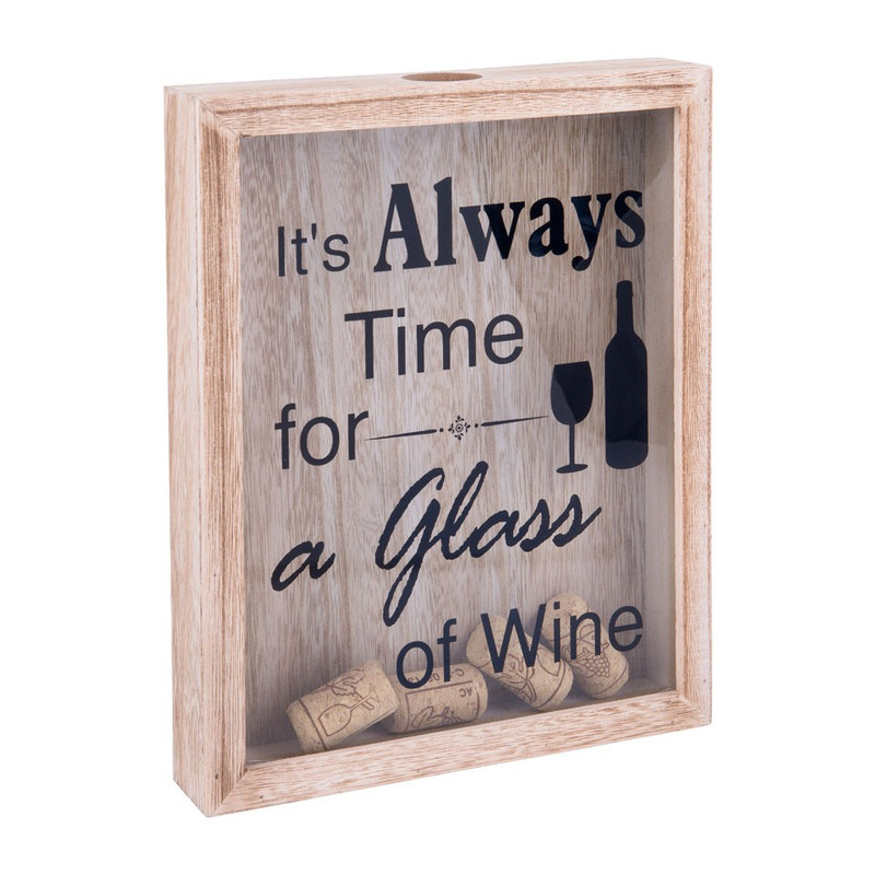 Kastje  voor wijnkurken - hout - 20,5x25,5 cm