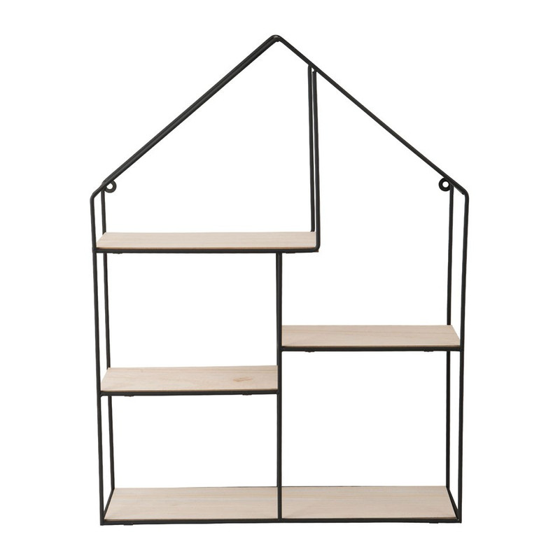 Wandkastje huis - 40x12x53 cm - zwart