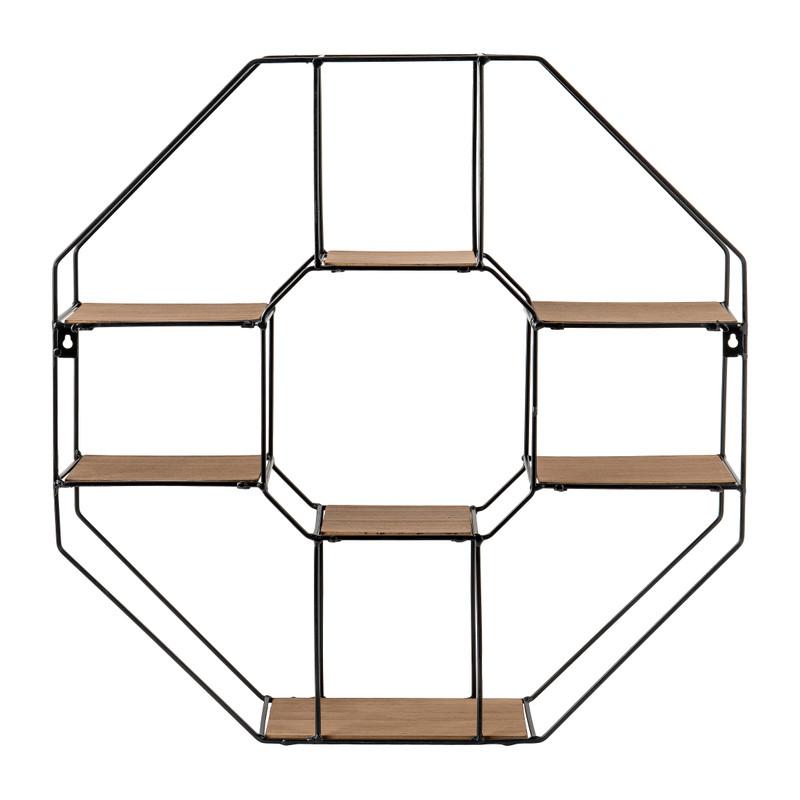 Wandrekje 6-hoekig met plankjes - 55x11x55 cm