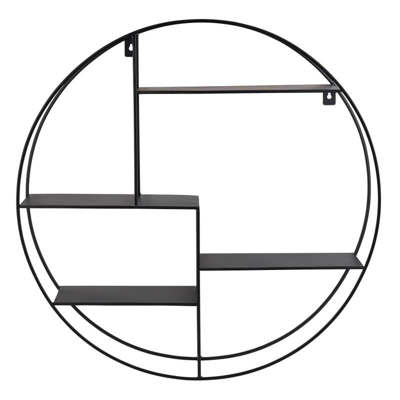 Wandkastje rond met 4 planken - 50x10x50 cm